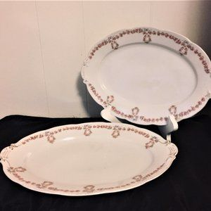 Victoria Austria Rose Garland & Bow Oval Platters